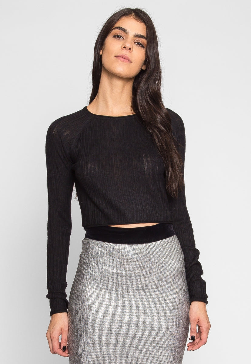 Full Moon Crop Sweater Top in Black - Shirts & Blouses - Wetseal