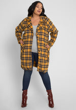 Plus Size Blizzard Longline Plaid Jacket in Mustard
