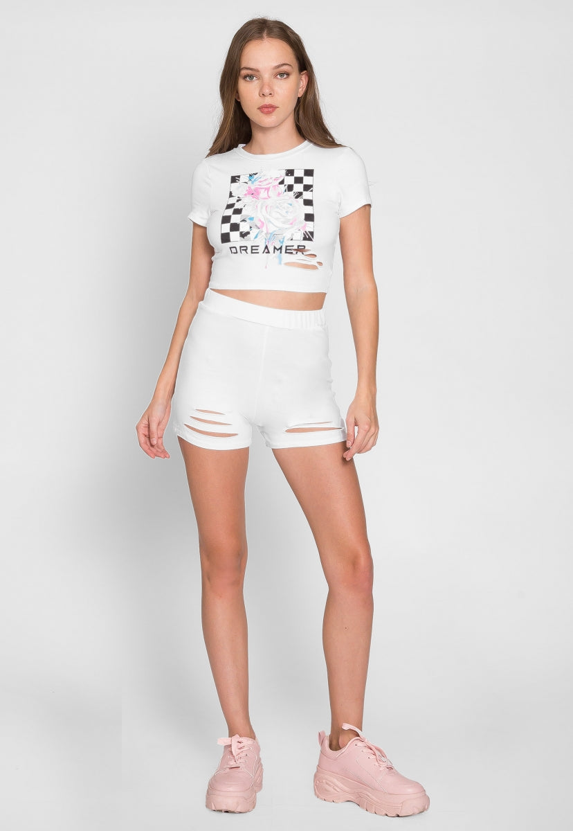Big Dreamer Graphic Two Piece Set in White - Set - Wetseal