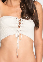 The Hype Rib Knit Bandeau Top in Oatmeal