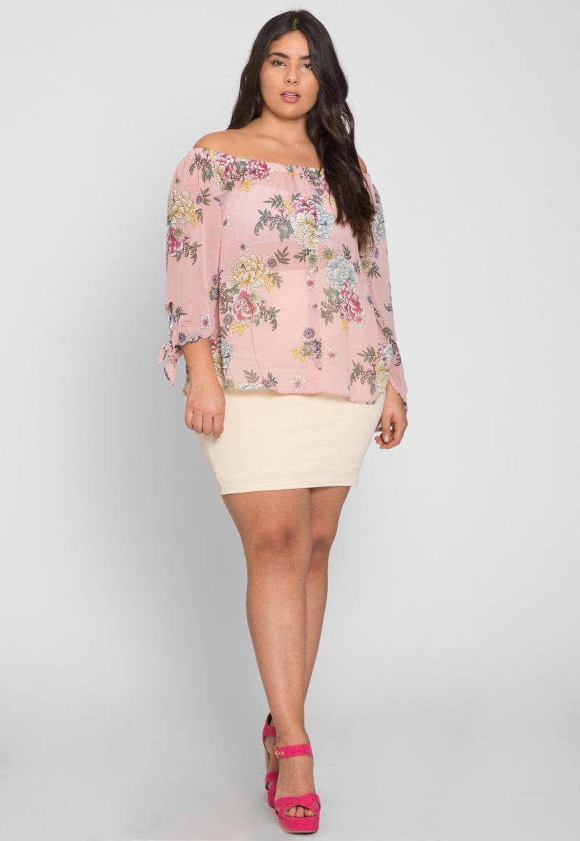 Plus Size The Fair Floral Sheer Blouse - Plus Tops - Wetseal