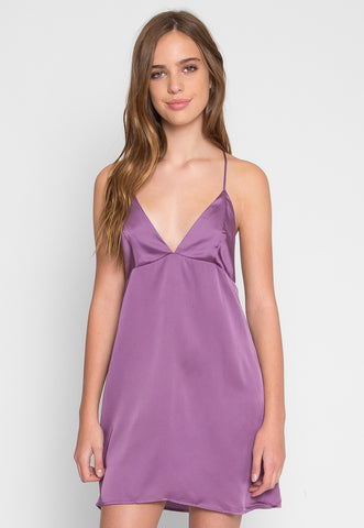 Satin Slip Mini Dress in Mauve