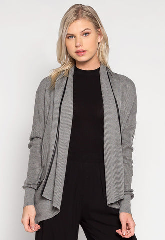 Home Town Shawl Lapel Ribbed Cardigan
