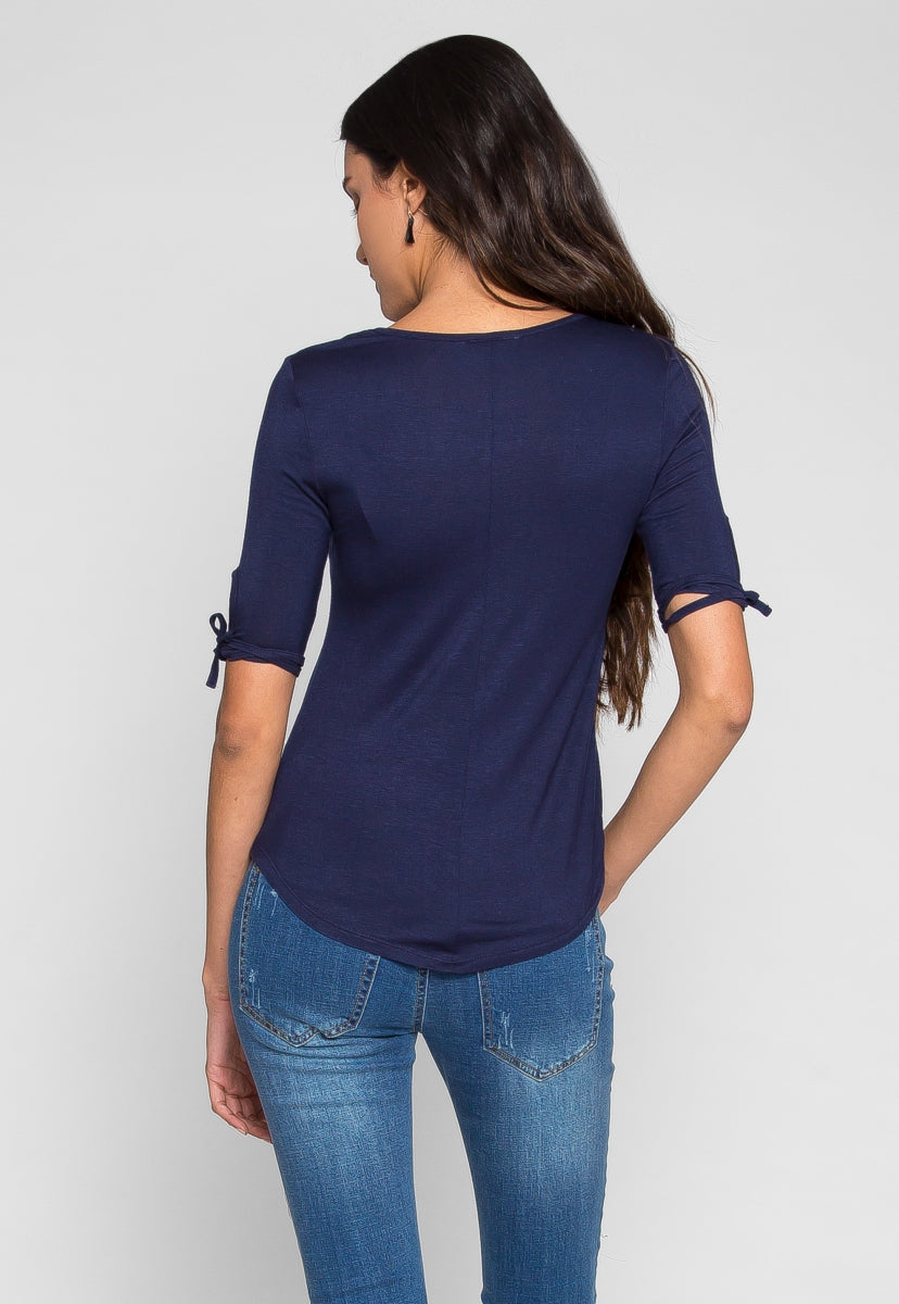 Being Free Sleeve Detail Basic Tee - Shirts & Blouses - Wetseal