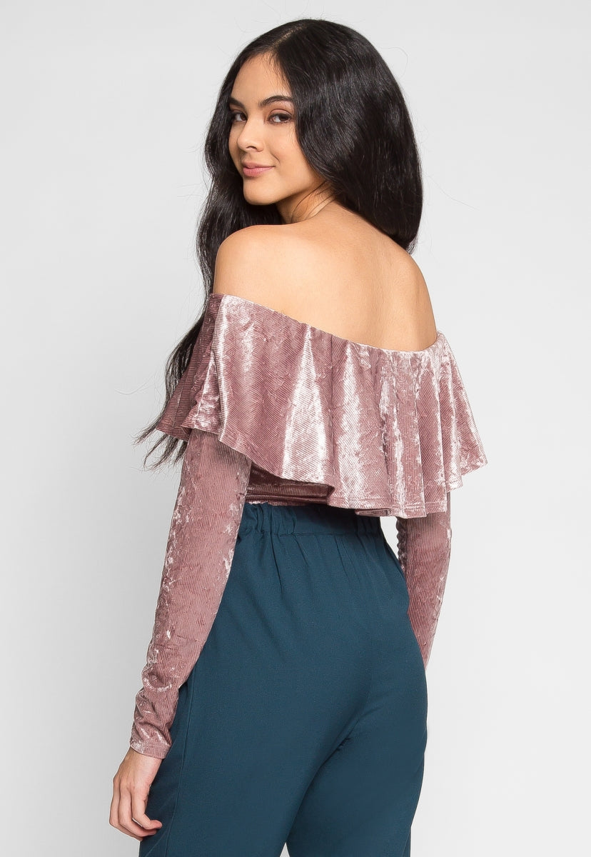Pathway Crushed Velvet Bodysuit in Lilac - Bodysuits - Wetseal