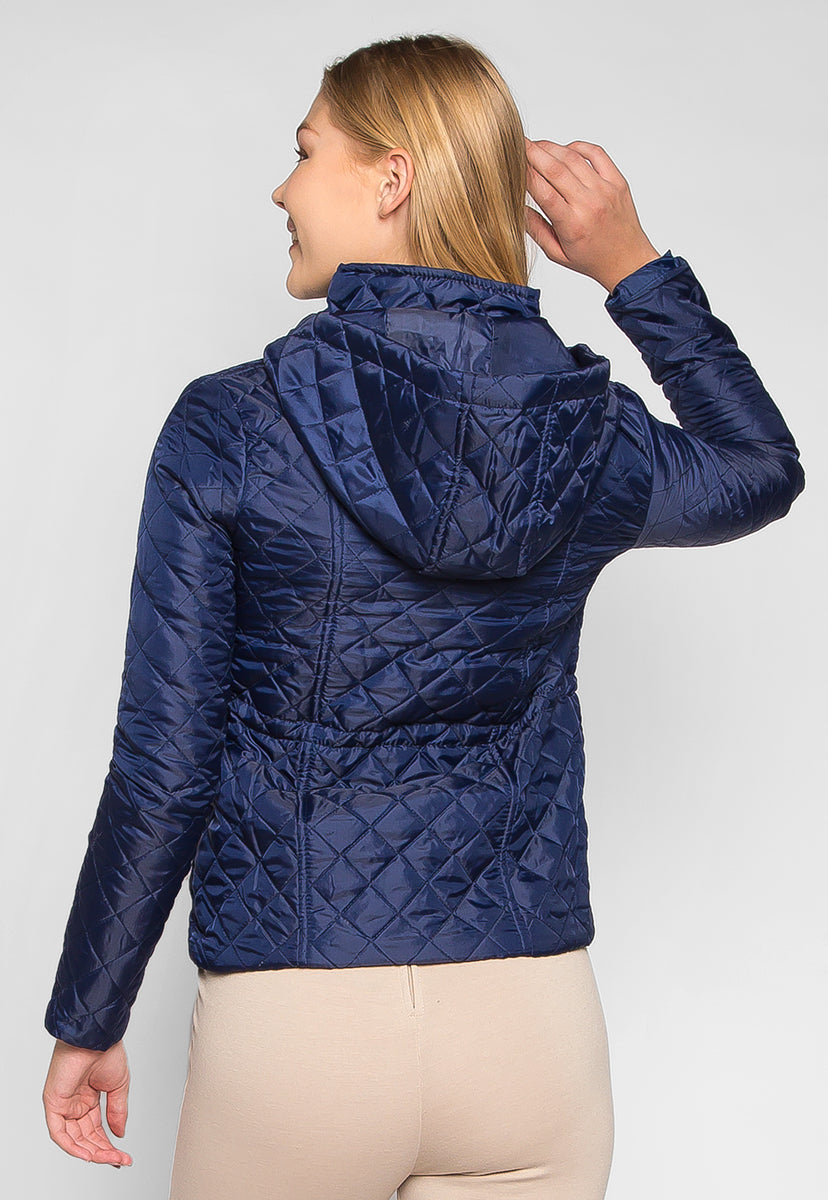 Adventure Time Hooded Quilted Jacket in Navy - Jackets & Coats - Wetseal