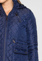 Adventure Time Hooded Quilted Jacket in Navy