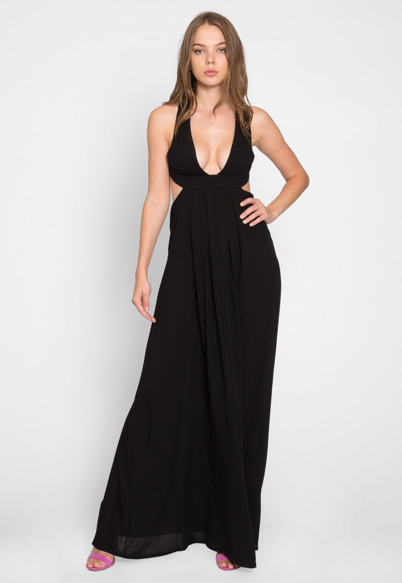 Calypso Cut Out Maxi Dress in Black - Dresses - Wetseal