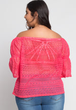 Plus Size Susie Off Shoulder Lace Top in Pink