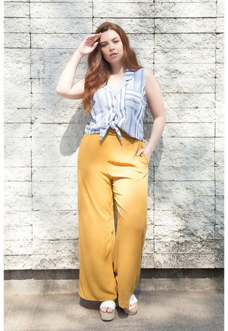 Plus Size Island High Waist Pants in Mustard