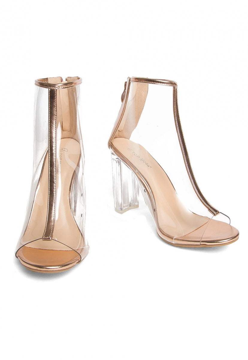 Luna Clear Lucite Bootie in Rose Gold - Shoes - Wetseal