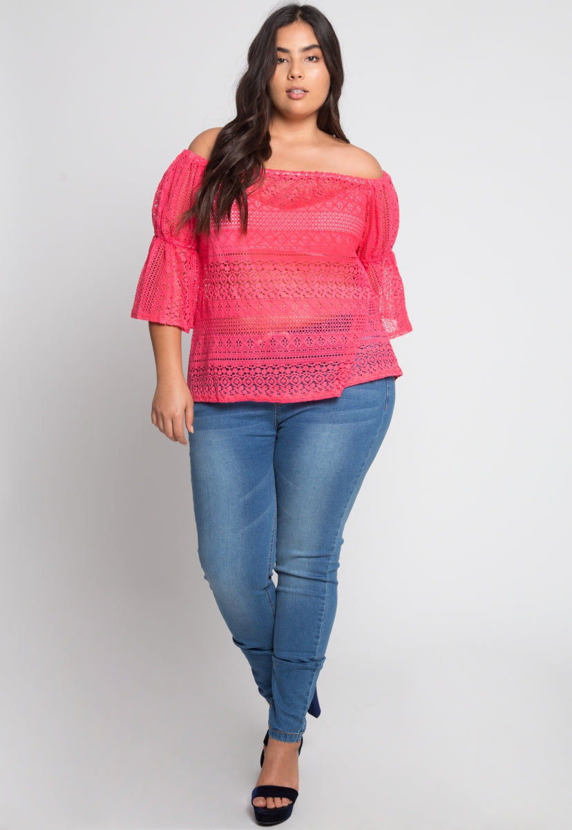 Plus Size Susie Off Shoulder Lace Top in Pink - Plus Tops - Wetseal
