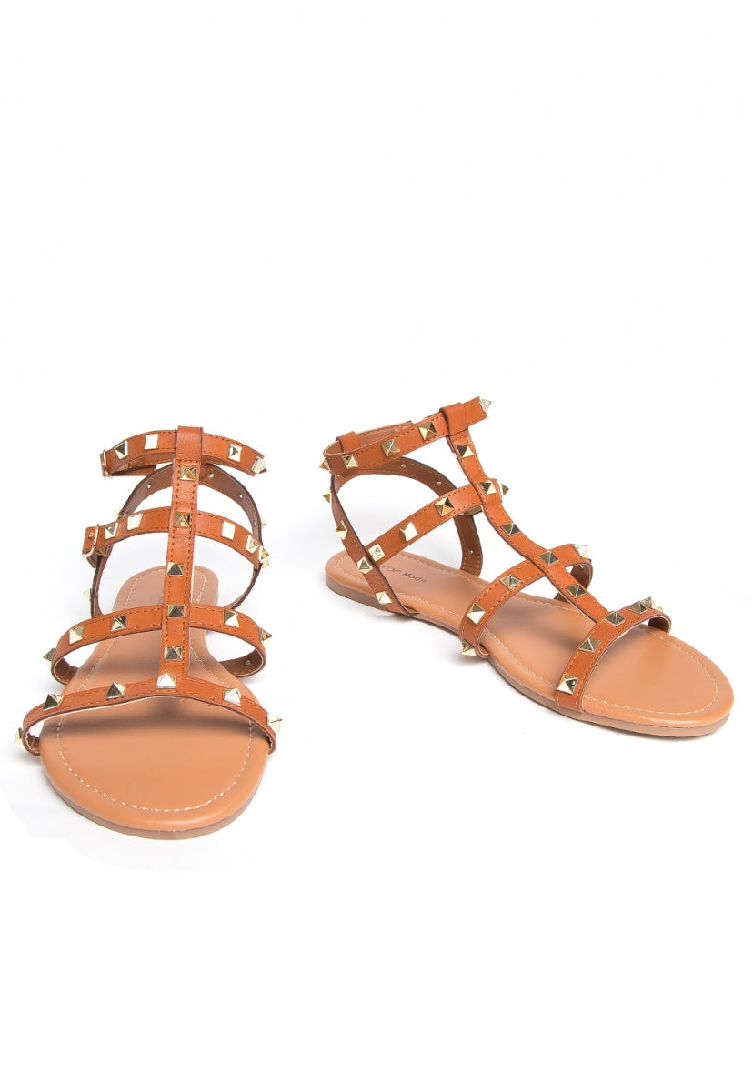 Heather Studded Gladiator Sandals - Shoes - Wetseal
