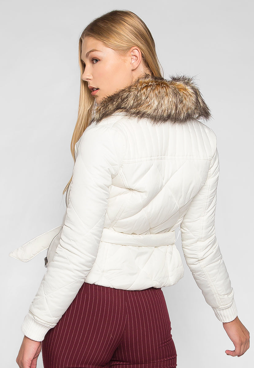 Dreaming All Day Faux Fur Quilted Jacket - Jackets & Coats - Wetseal