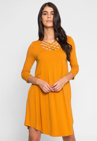 Airwaves Lattice Dress in Mustard