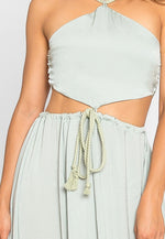Paris Cut Out Satin Halter Maxi Dress