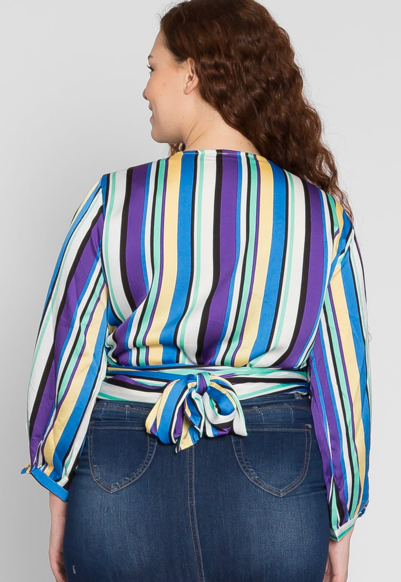 Plus Size Vibrant Multi Stripe Blouse in Blue - Plus Tops - Wetseal