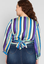Plus Size Vibrant Multi Stripe Blouse in Blue