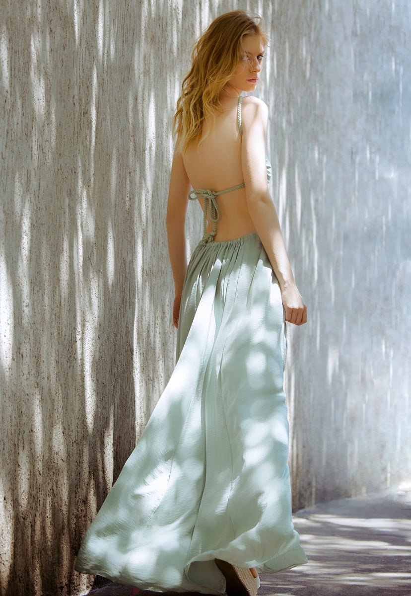 Paris Cut Out Satin Halter Maxi Dress - Dresses - Wetseal