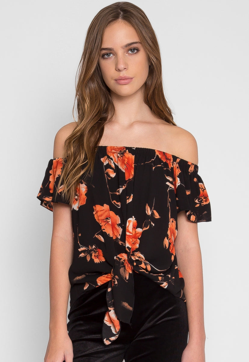 Rae Floral Off Shoulder Top in Black - Shirts & Blouses - Wetseal