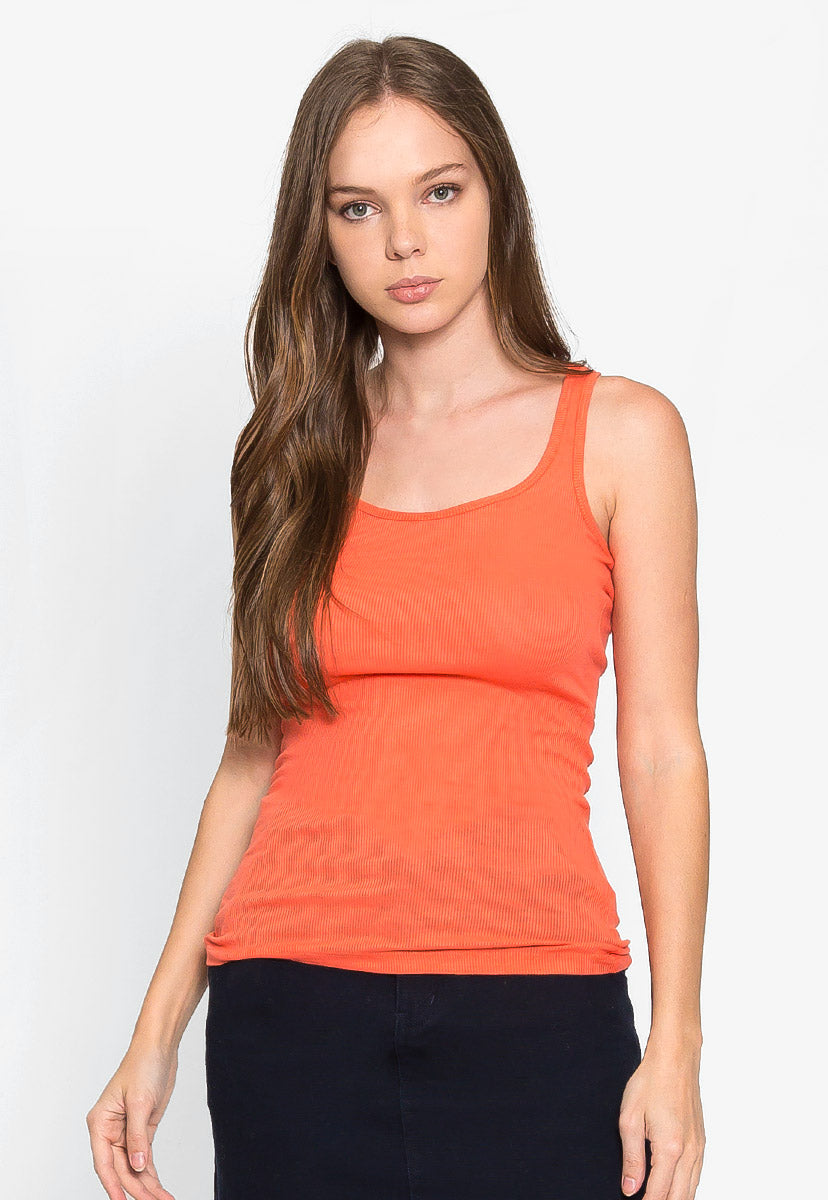 California Basic Tank Top in Orange - Tanks - Wetseal