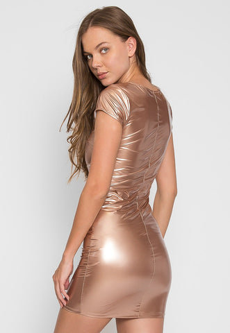 Metallic Zipper Front Dress