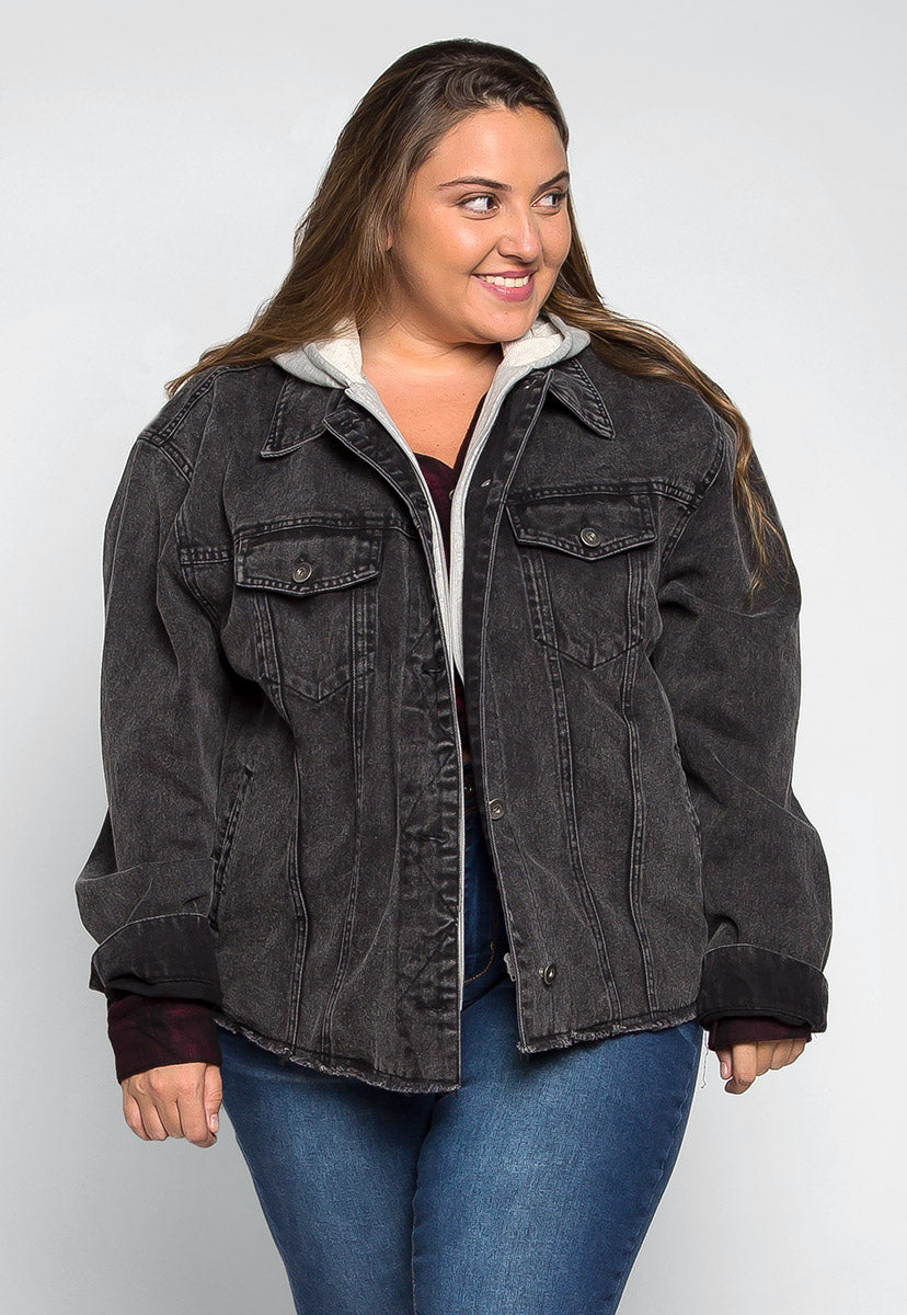 Plus Size Old School Hooded Denim Jacket - Plus Outerwear - Wetseal