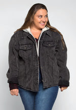Plus Size Old School Hooded Denim Jacket