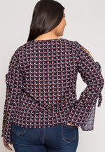 Plus Size Adding Up Print Blouse