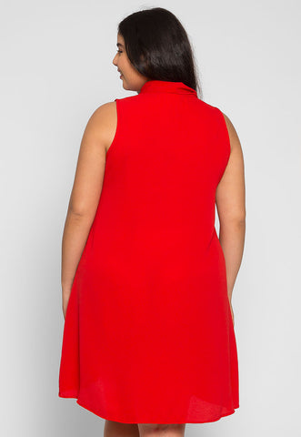 Plus Size Flirty Girl Tunic Dress in Red