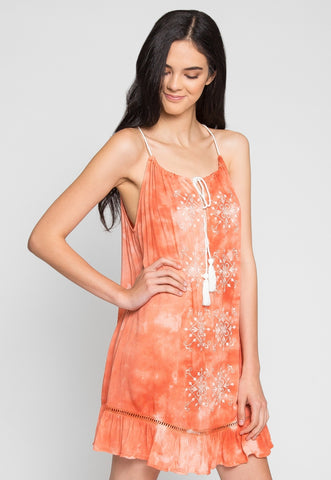 Sunset Embroidered Tie Dye Dress