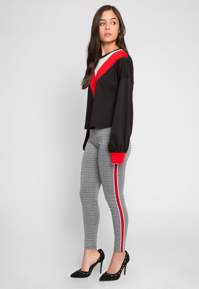 The Grid Plaid Side Tape Leggings - Pants - Wetseal