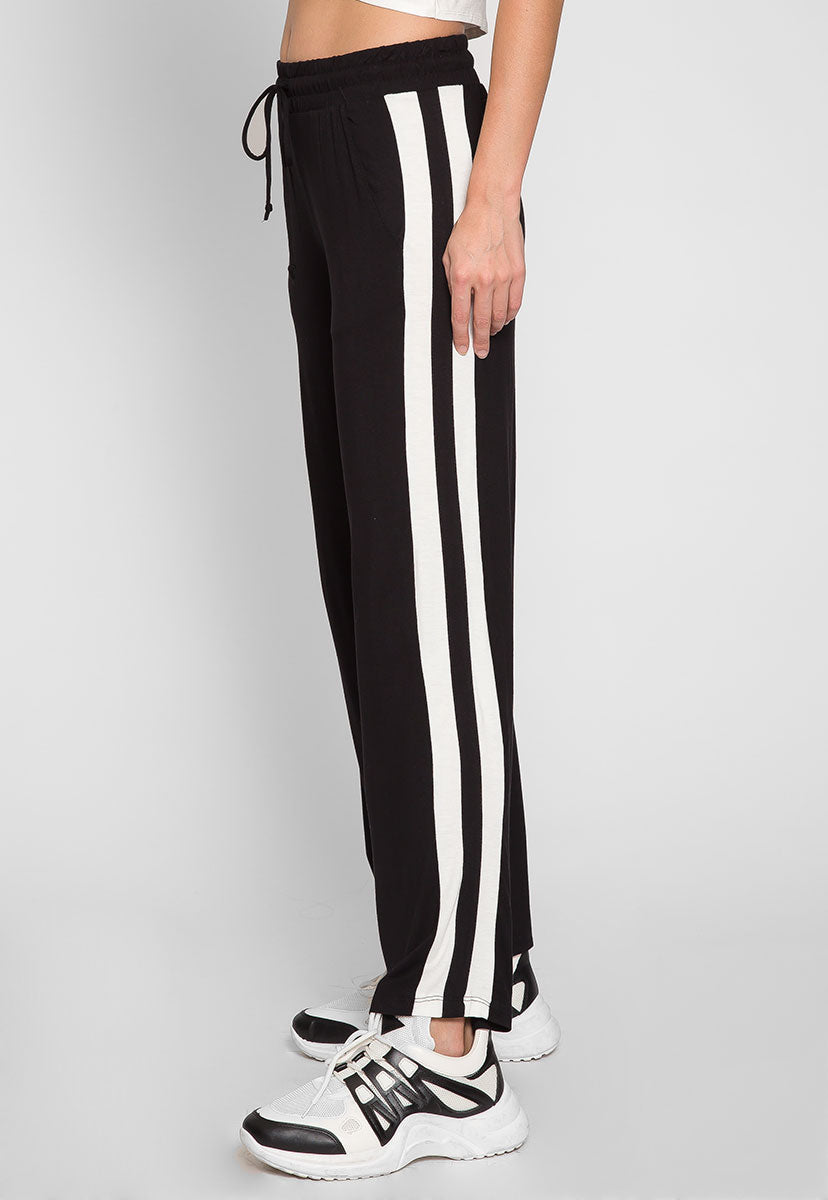 Sunny Day Wide Leg Joggers in Black - Pants - Wetseal