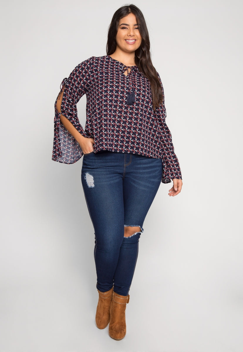 Plus Size Adding Up Print Blouse - Plus Tops - Wetseal