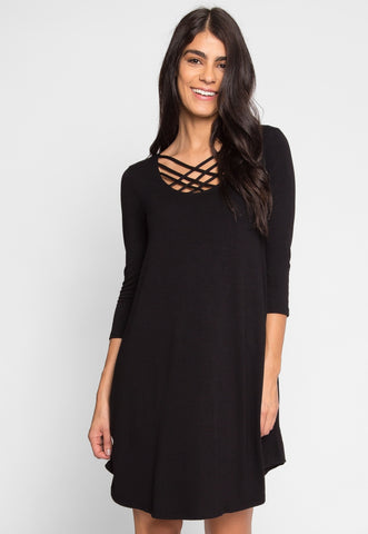 Airwaves Lattice Dress in Black