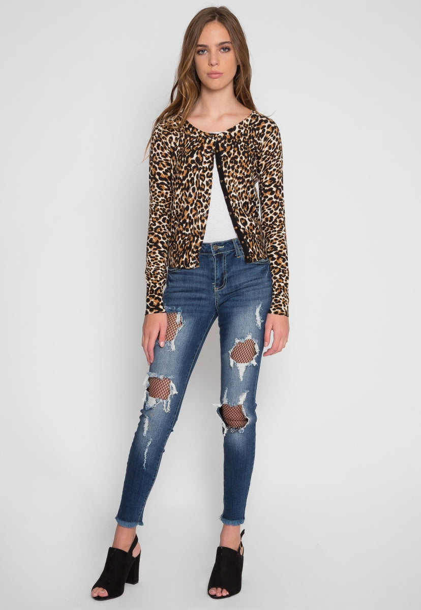 Wild Side Cardigan in Brown Leopard - Sweaters & Sweatshirts - Wetseal
