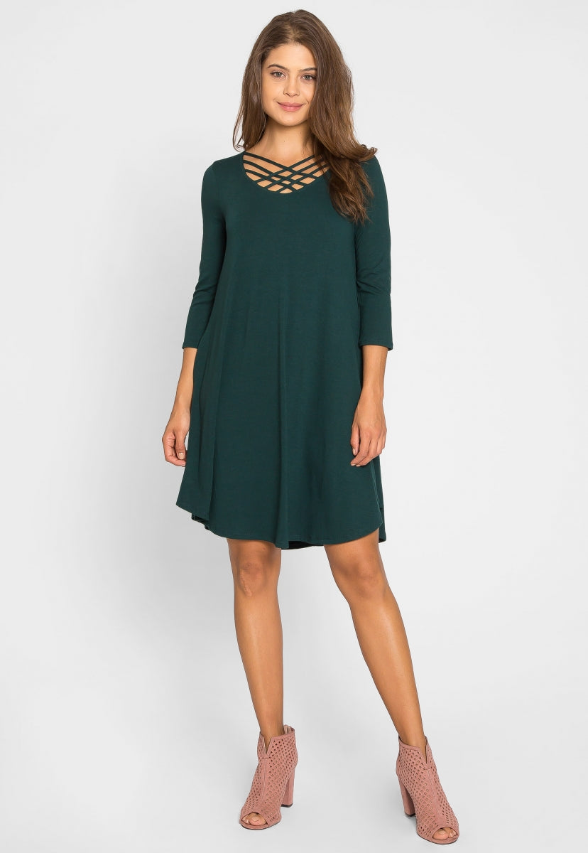Airwaves Lattice Dress in Green - Dresses - Wetseal