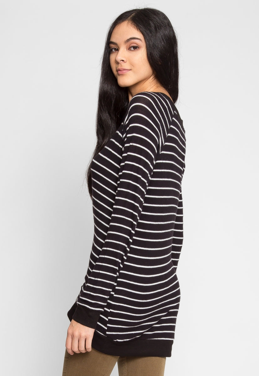 Token Longline Stripe Top in Black - Shirts & Blouses - Wetseal