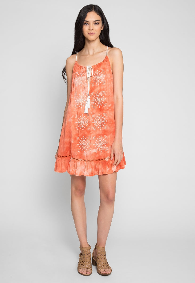 Sunset Embroidered Tie Dye Dress - Dresses - Wetseal