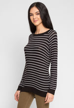 Token Longline Stripe Top in Black