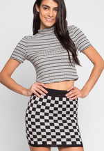 Skate Park Checkered Skirt in Gray