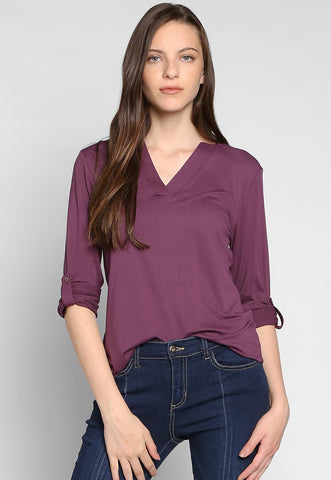 Nataly Roll Tab Sleeve Blouse in Purple