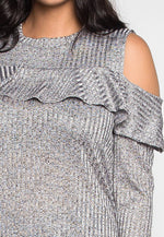 Plus Size Ruffle Front Cold Shoulder Knit Top
