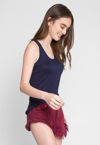 Cheap Thrills Basic Soft Racerback Tank Top in Navy