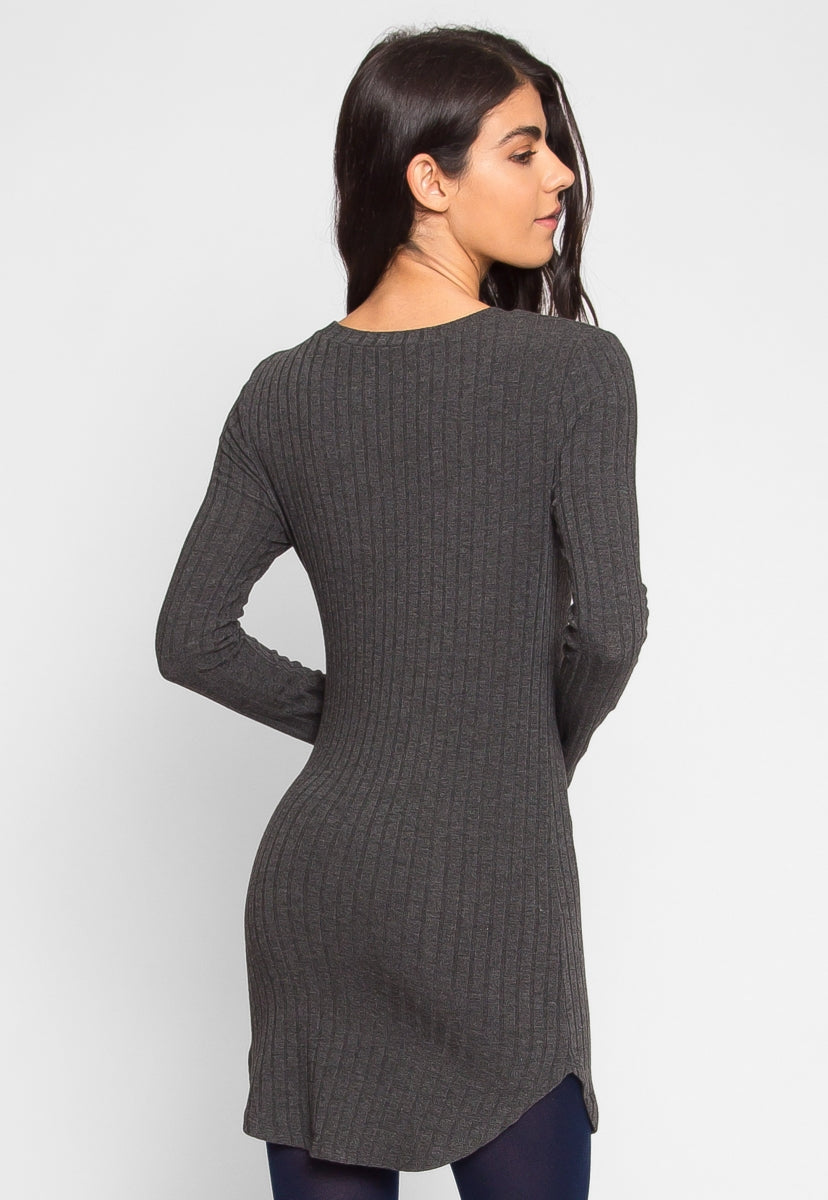 Ashton Ribbed Bodycon Dress in Charcoal - Dresses - Wetseal