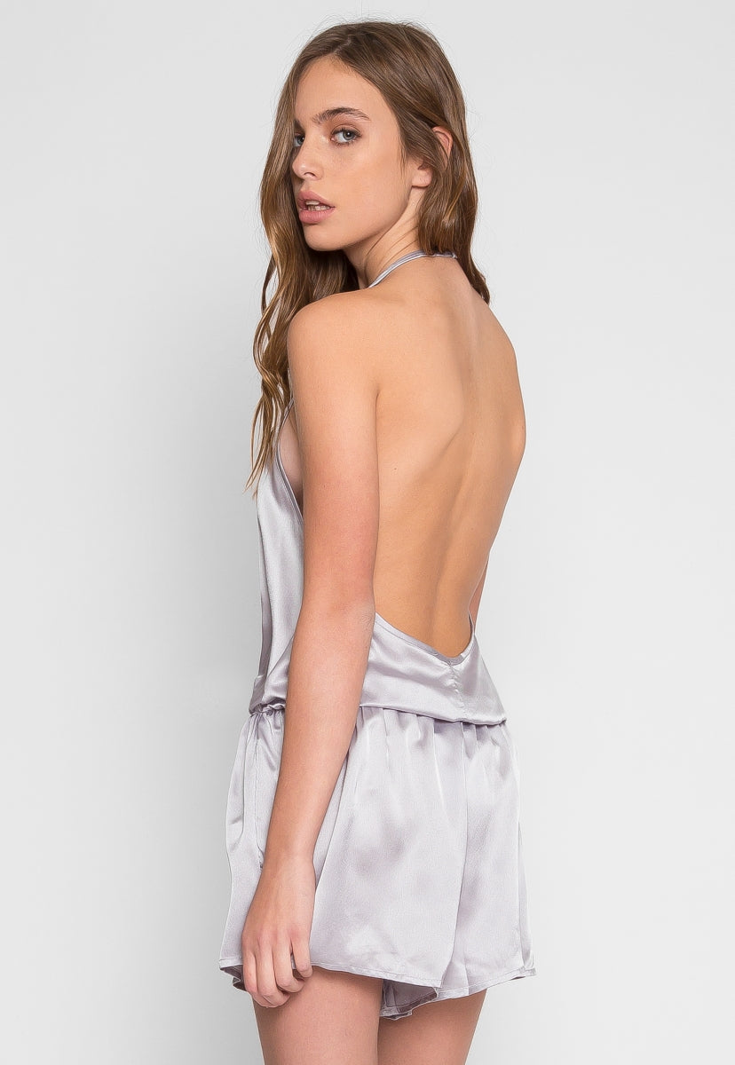 Satin Halter Romper in Silver - Rompers & Jumpsuits - Wetseal