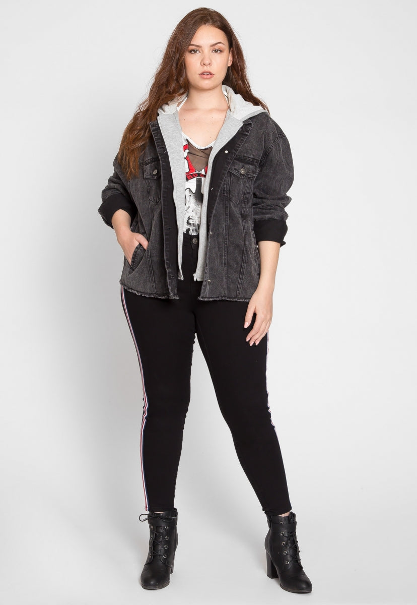 Plus Size Stone Wash Denim Jacket in Black - Plus Outerwear - Wetseal