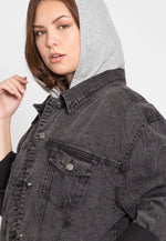 Plus Size Stone Wash Denim Jacket in Black