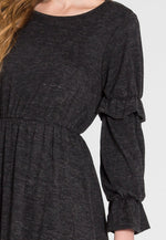 Showstopper Fit and Flare Dress in Charcoal