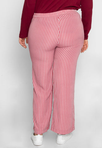 Plus Size Quest Stripe Palazzo Pants in Pink